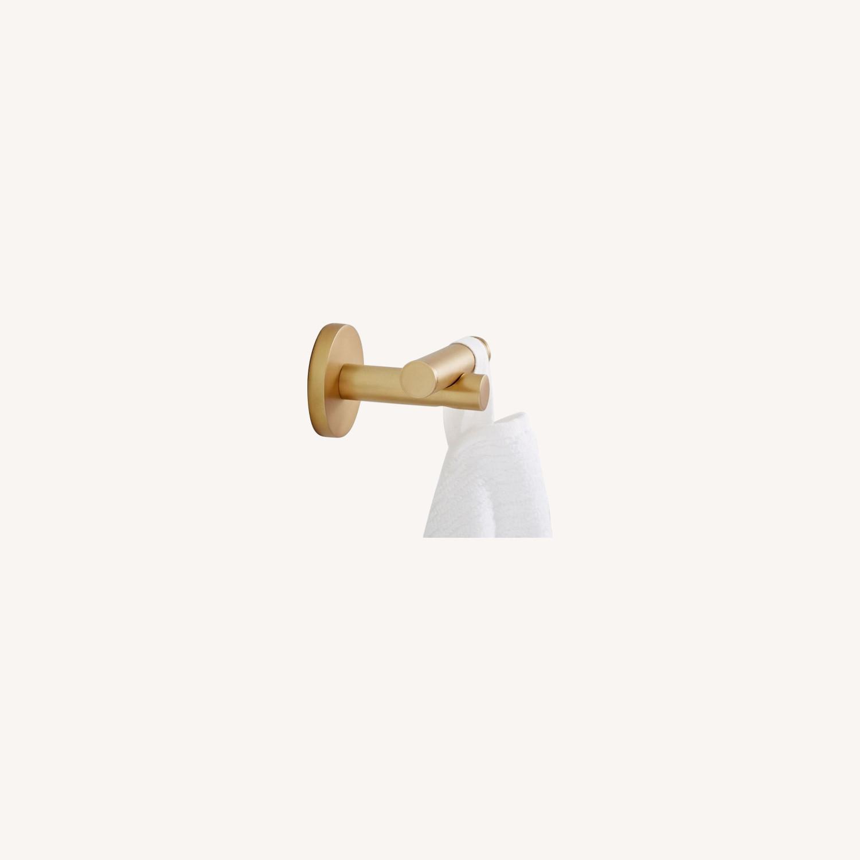 West Elm Modern Overhang Towel Hook, Antique Brass - image-0
