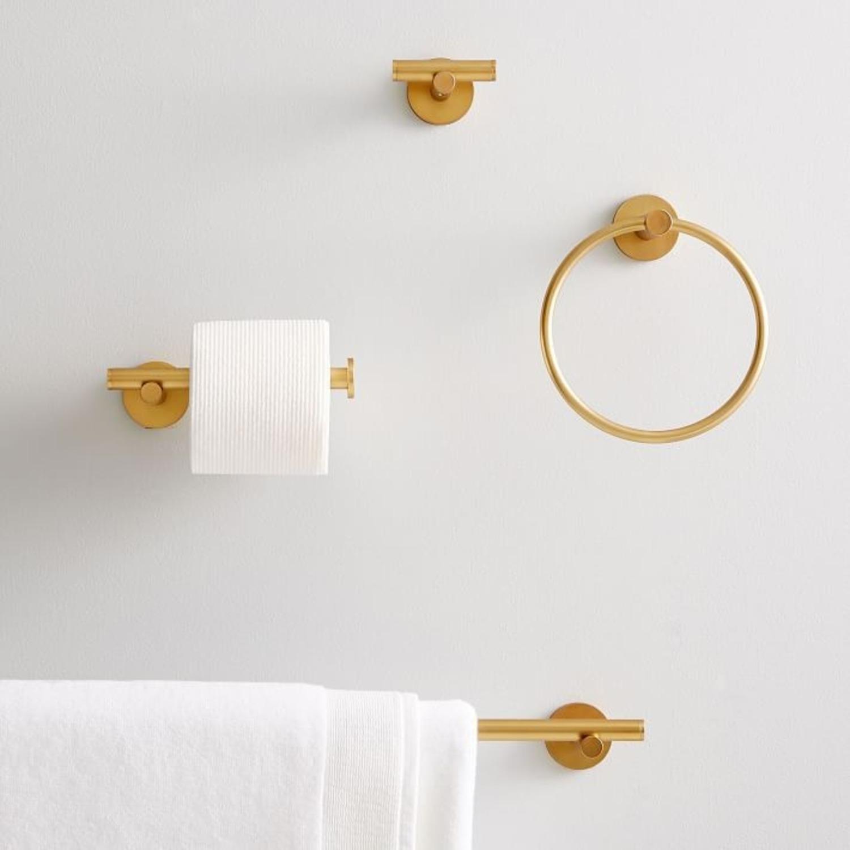 West Elm Modern Overhang Towel Hook, Antique Brass - image-3