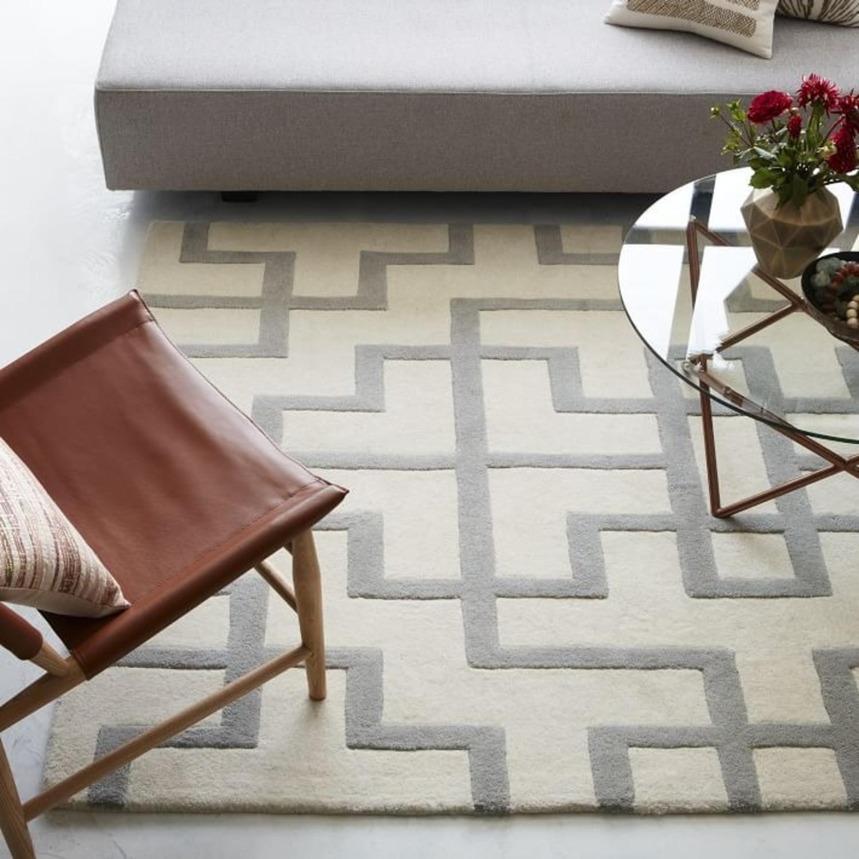 West Elm Trellis Wool Rug, Platinum - image-2