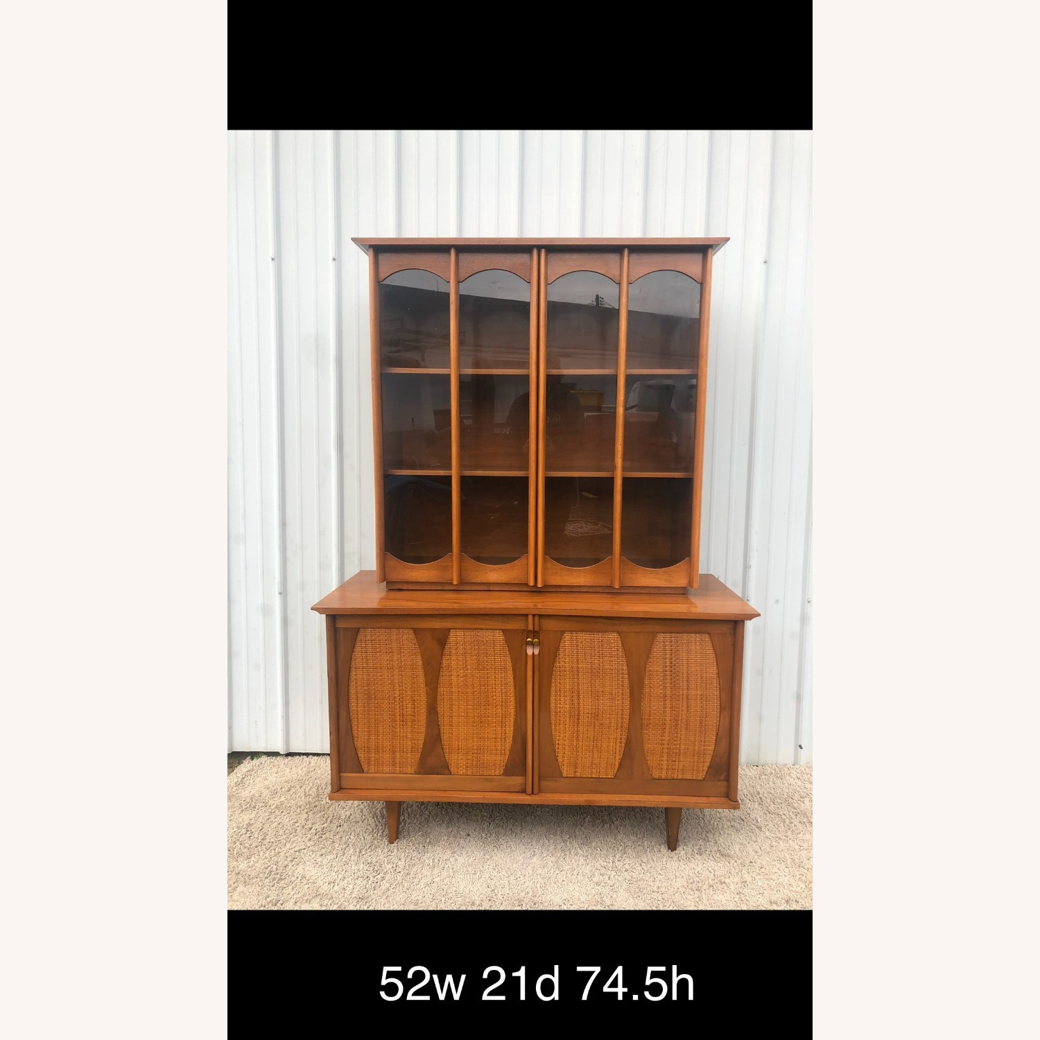 Picture of: Mid Century China Cabinet With Caning Aptdeco