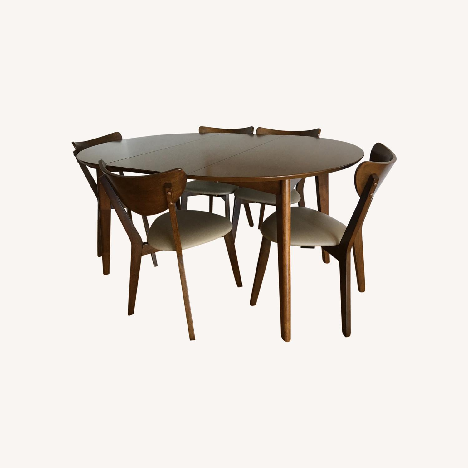 Mid-Century Modern Walnut Dining Table and Chairs - image-0
