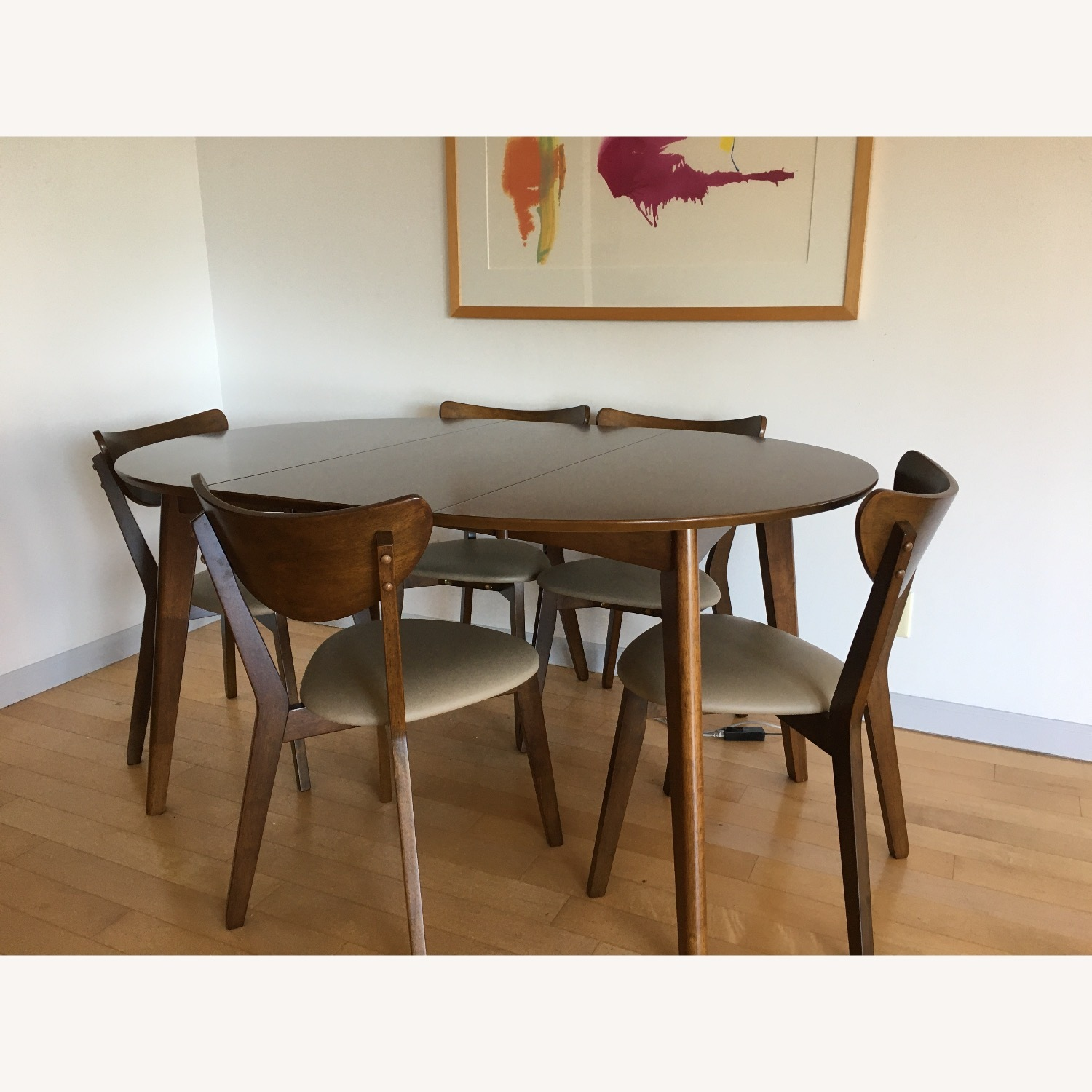 Mid-Century Modern Walnut Dining Table and Chairs - image-1