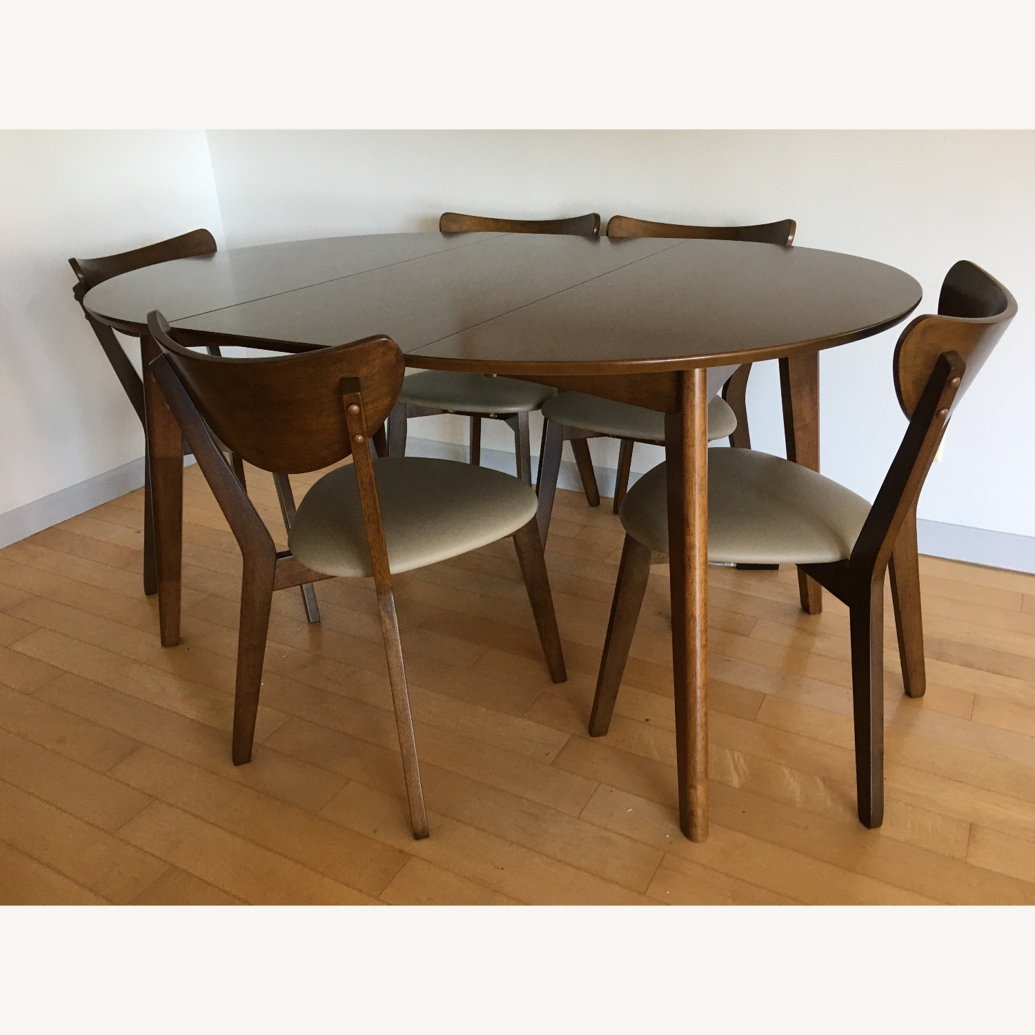 Mid-Century Modern Walnut Dining Table and Chairs - image-2