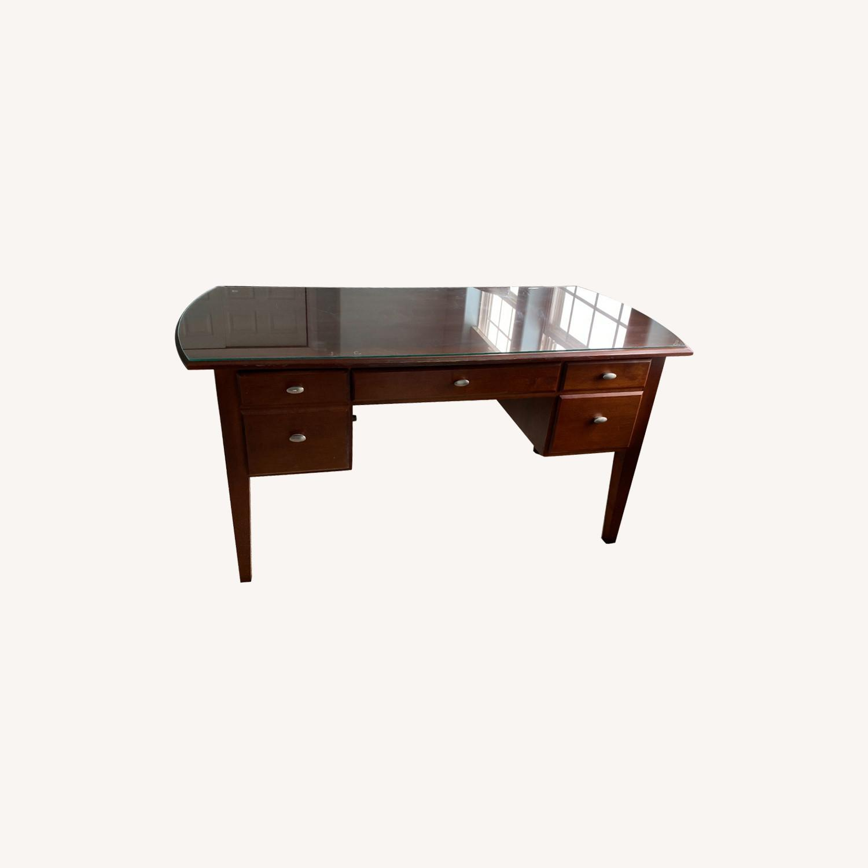 Ethan Allen Home Office Desk Brown Wood - image-0