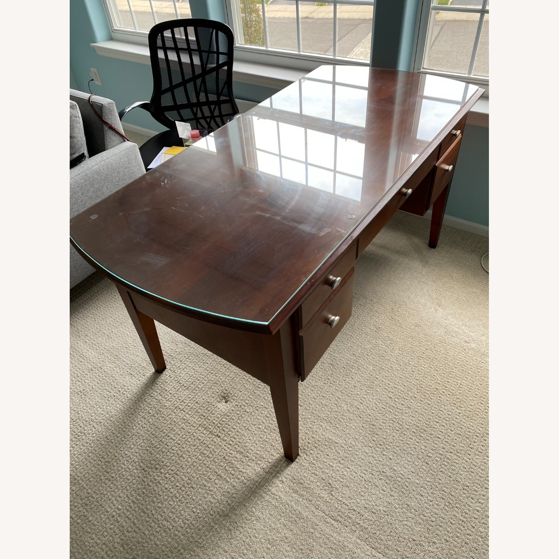 Ethan Allen Home Office Desk Brown Wood - image-3
