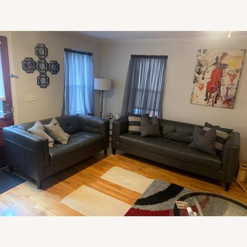 Used Chateau d'Ax Grey Leather Sofa Set for sale on AptDeco