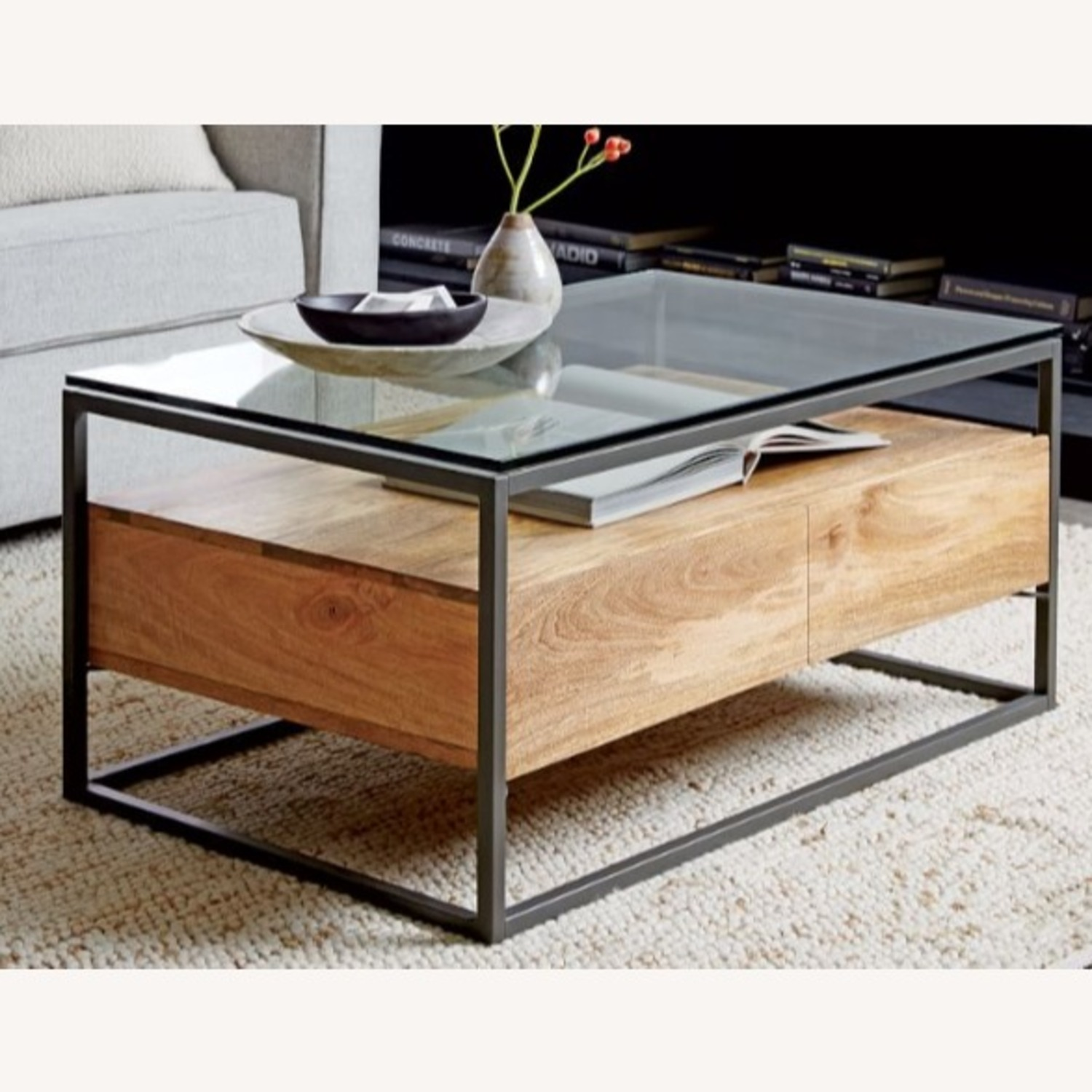 West Elm Box Frame Storage Coffee Table, Raw Mango, Large - image-2