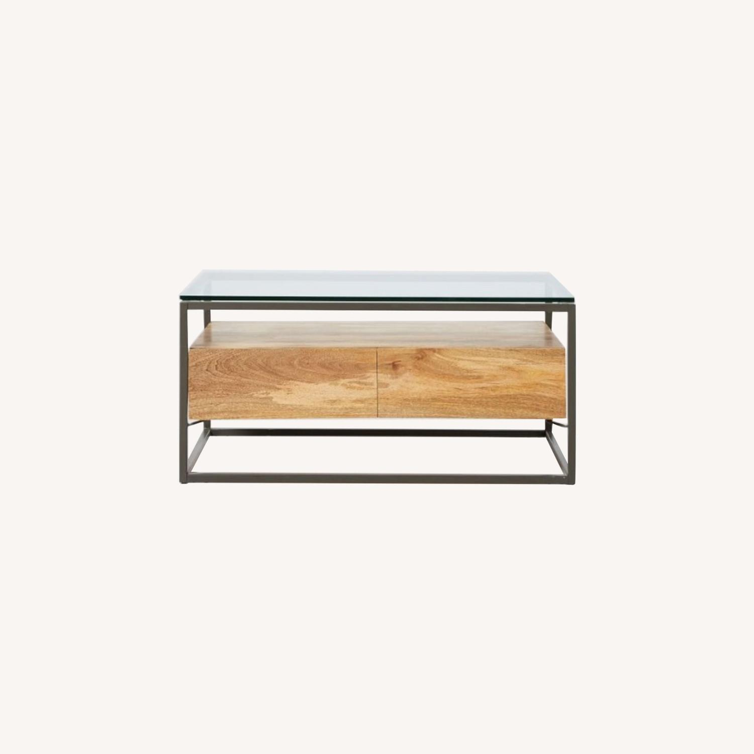 West Elm Box Frame Storage Coffee Table, Raw Mango, Large - image-0