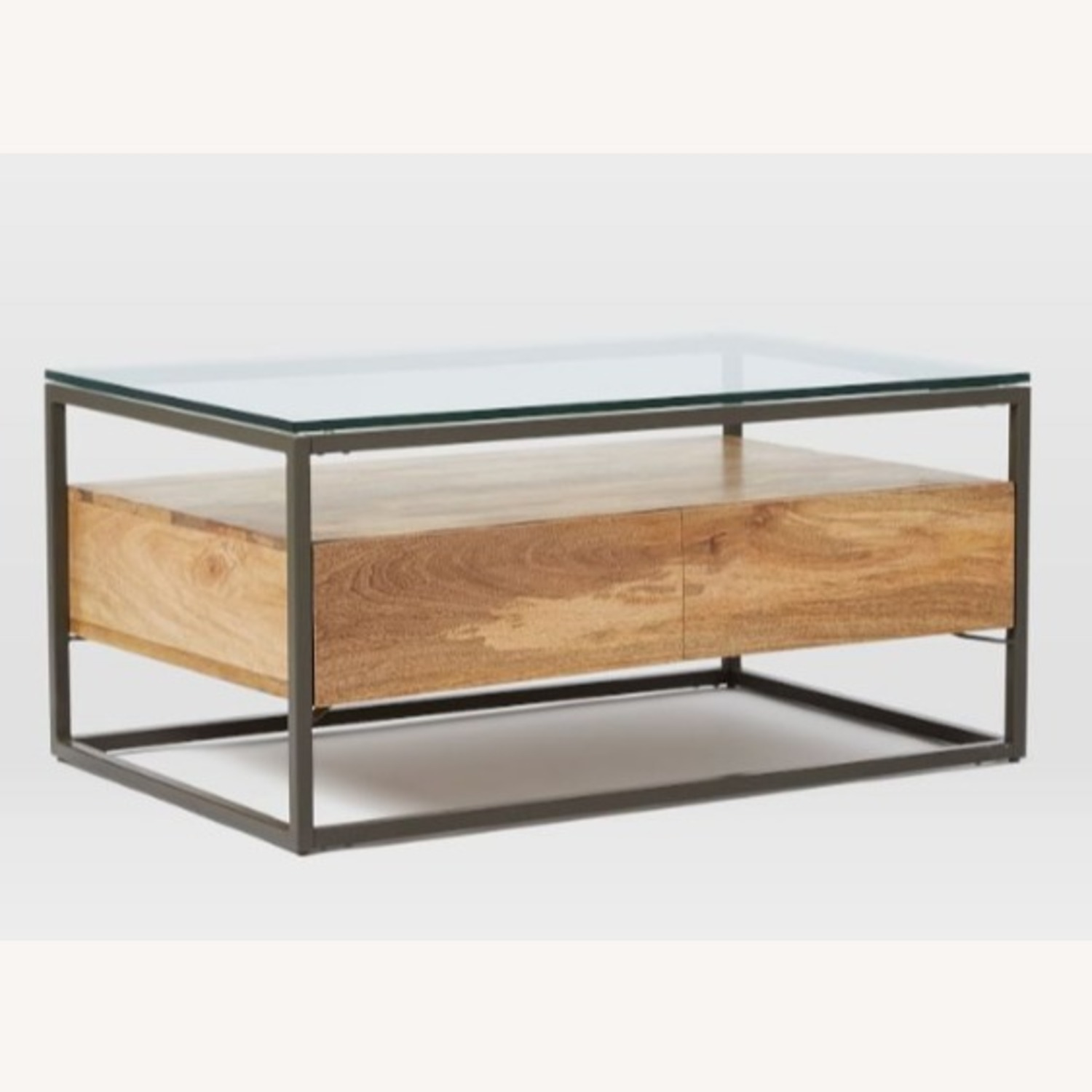 West Elm Box Frame Storage Coffee Table, Raw Mango, Large - image-1
