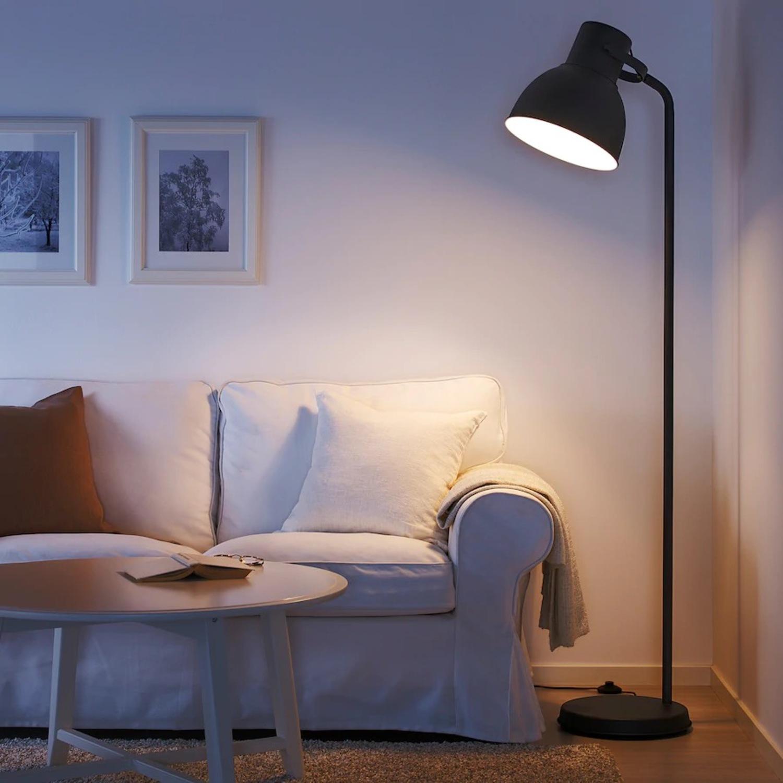 IKEA HEKTAR Floor Lamp with LED Bulb Dark Gray - image-1