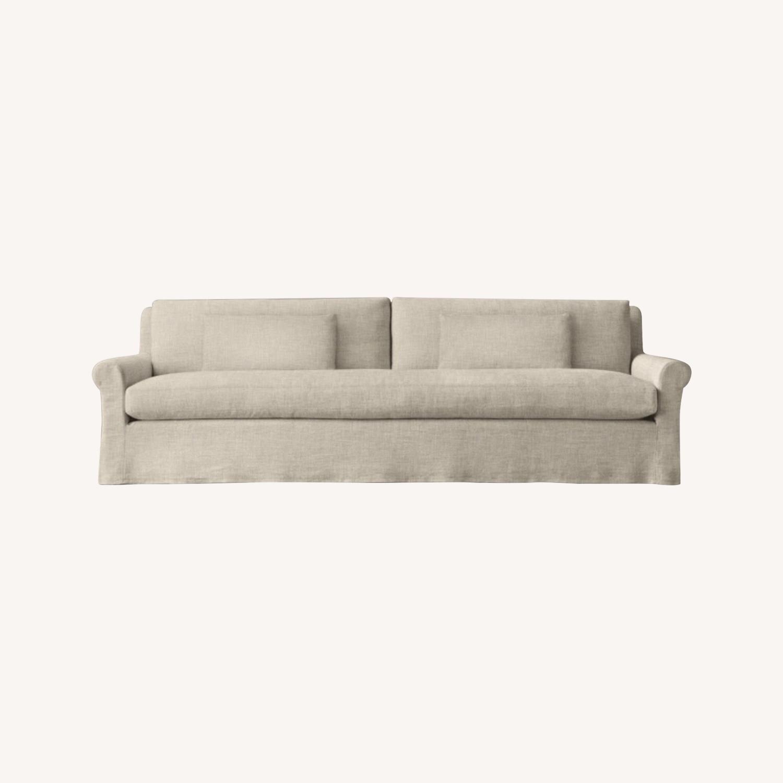 Restoration Hardware Belgian Linen Sofa Sand - image-0
