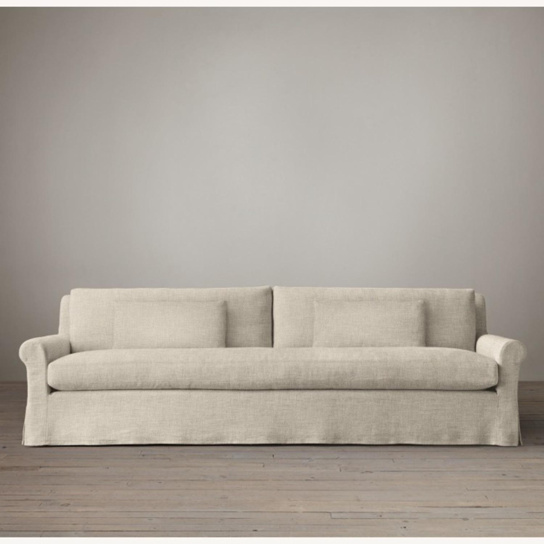 Restoration Hardware Belgian Linen Sofa Sand - image-1