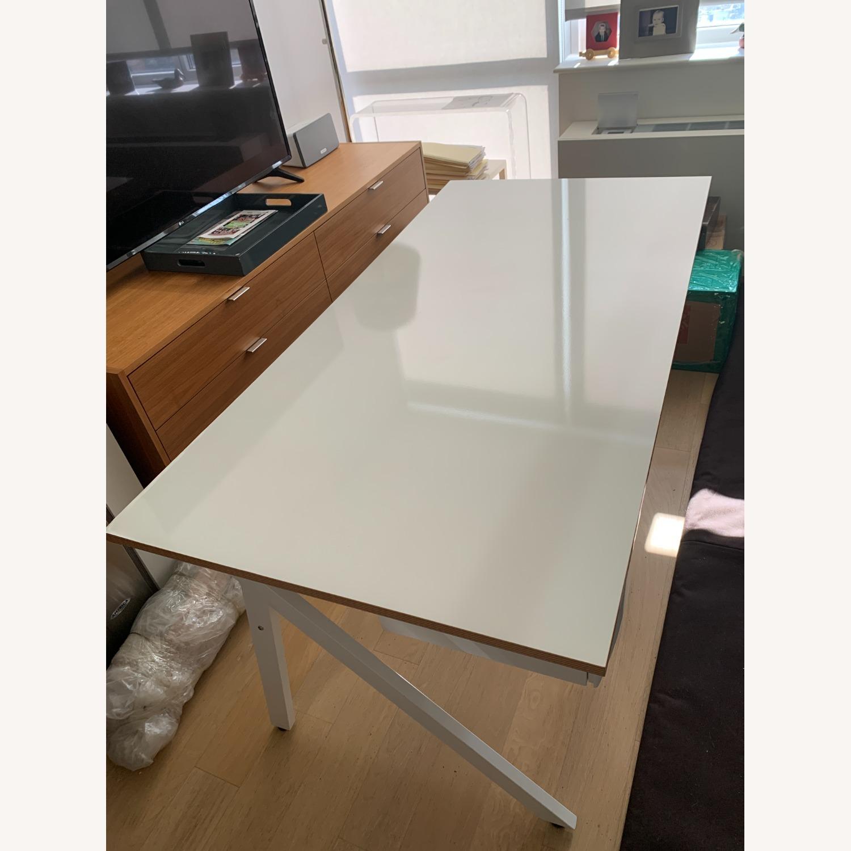 CB2 White Laminate 2 Drawer Desk - image-3