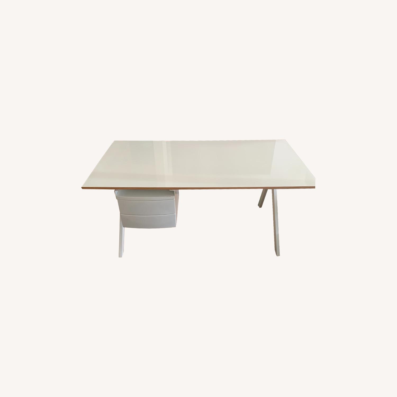 CB2 White Laminate 2 Drawer Desk - image-0