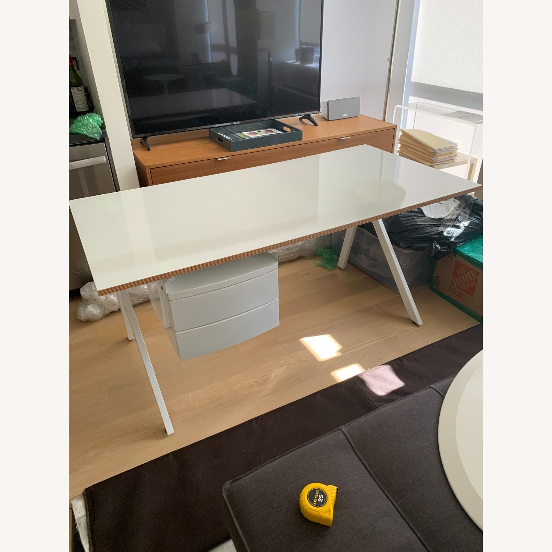 CB2 White Laminate 2 Drawer Desk - image-1