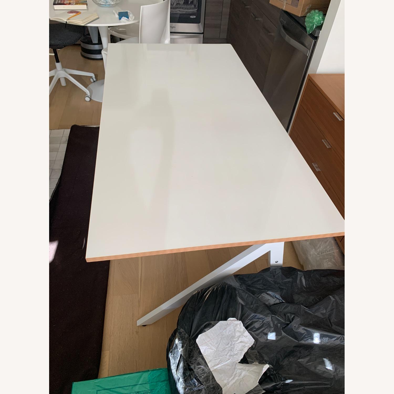 CB2 White Laminate 2 Drawer Desk - image-7