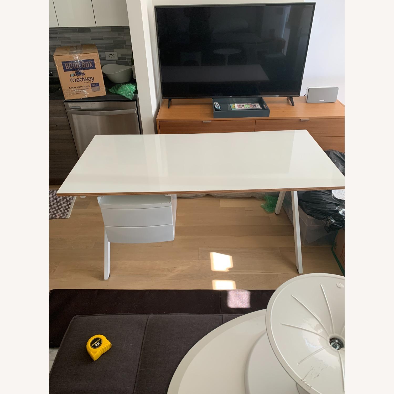 CB2 White Laminate 2 Drawer Desk - image-2