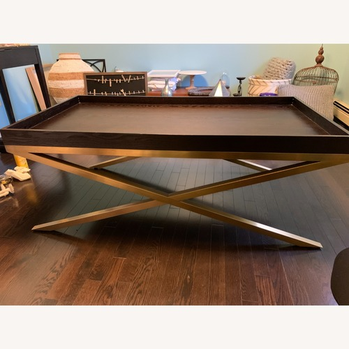 Used Vanguard Wood & Brass Coffee/Cocktail Table for sale on AptDeco