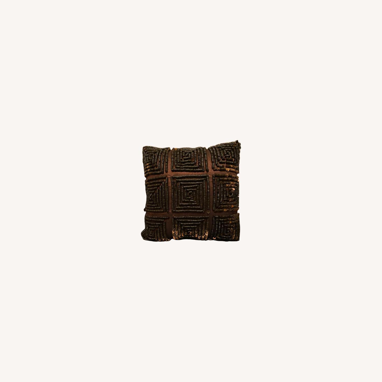 Brown Beaded Decor Pillow - image-0