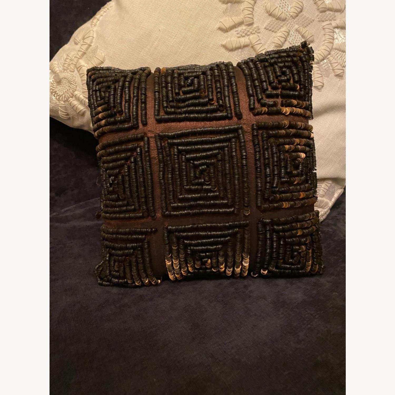 Brown Beaded Decor Pillow - image-1