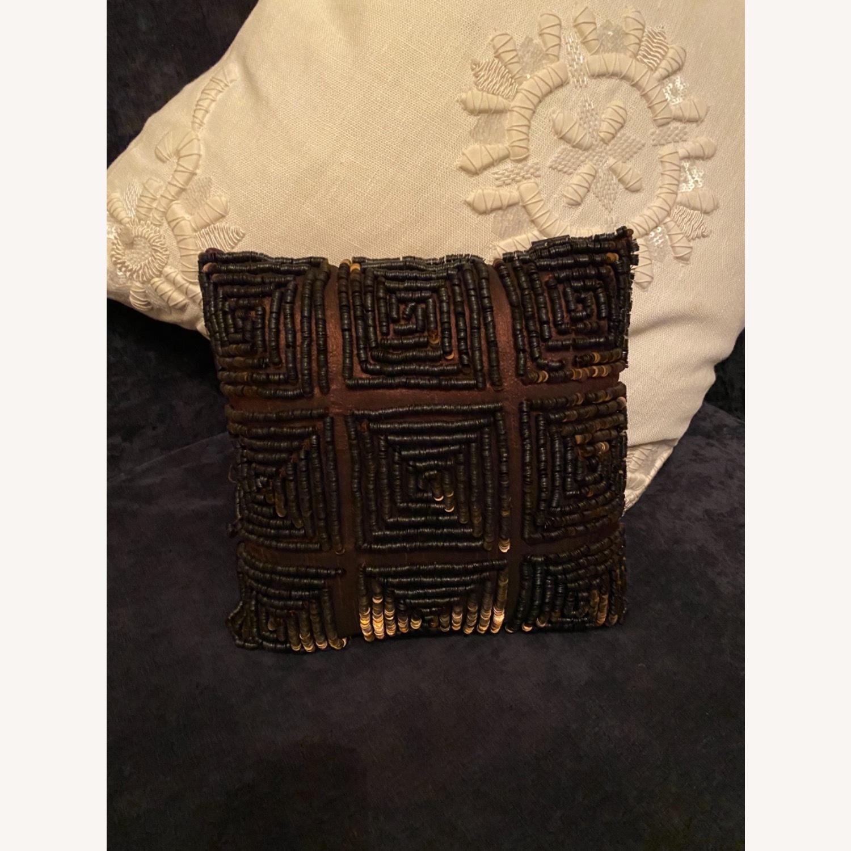 Brown Beaded Decor Pillow - image-3