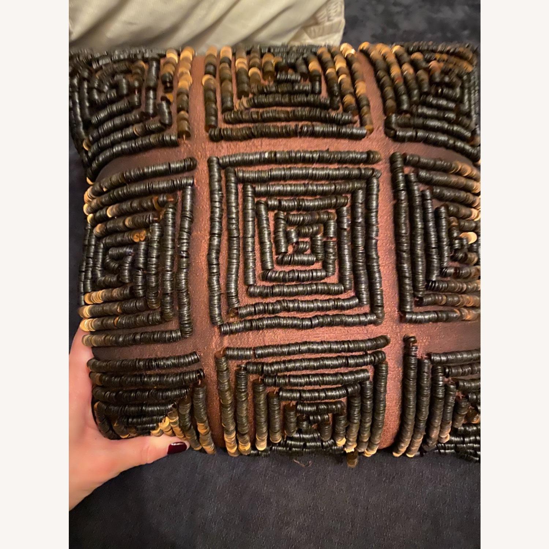 Brown Beaded Decor Pillow - image-4