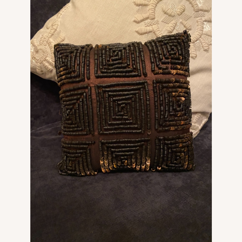 Brown Beaded Decor Pillow - image-2