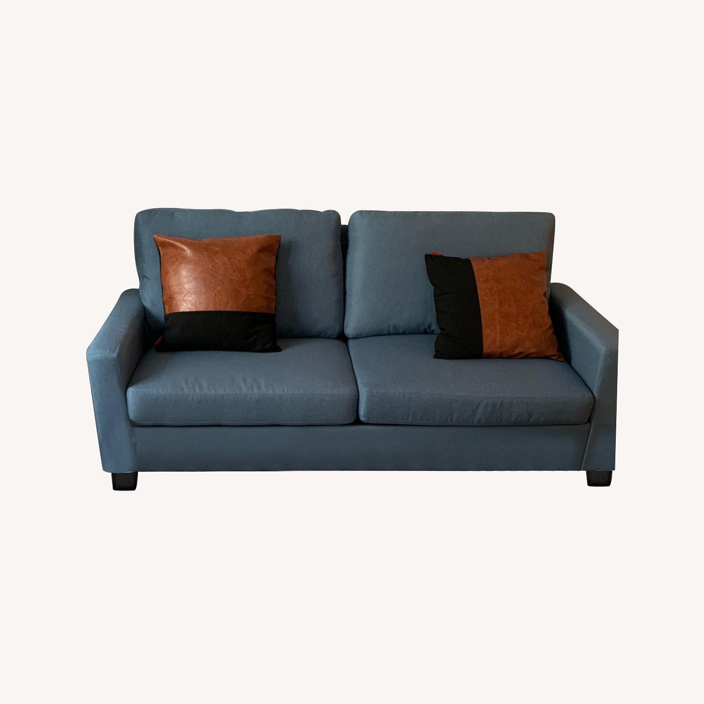 Mainstays Light Blue Sofa - image-0