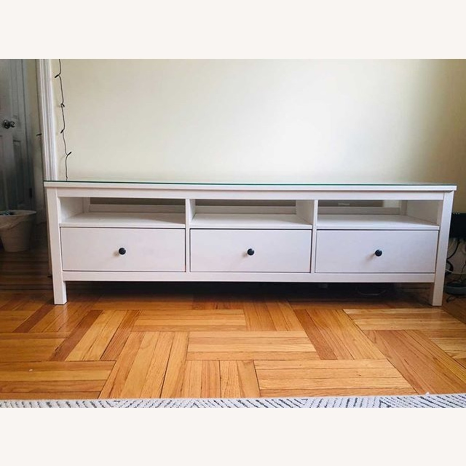 IKEA Hemnes TV Unit With Glass Top - image-1