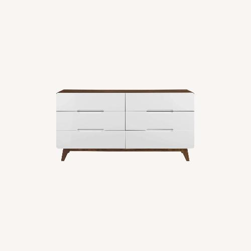 Used Furniture USA Mid Century Modern Wood Dresser in White for sale on AptDeco
