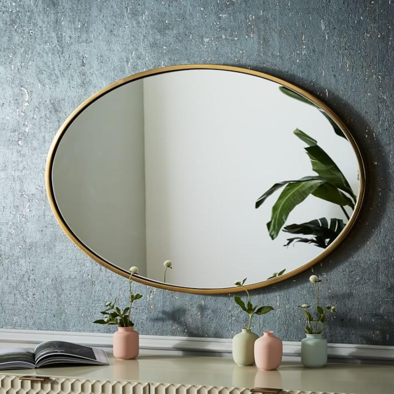West Elm Metal Framed Mirror, Antique Brass, Oval - image-1