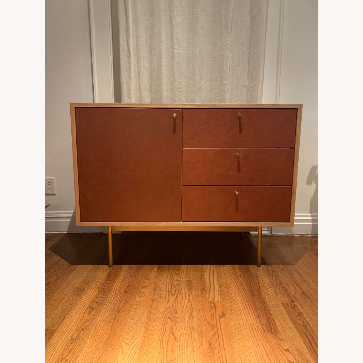 West Elm Michael Robbins Leather Front Sideboard - image-1