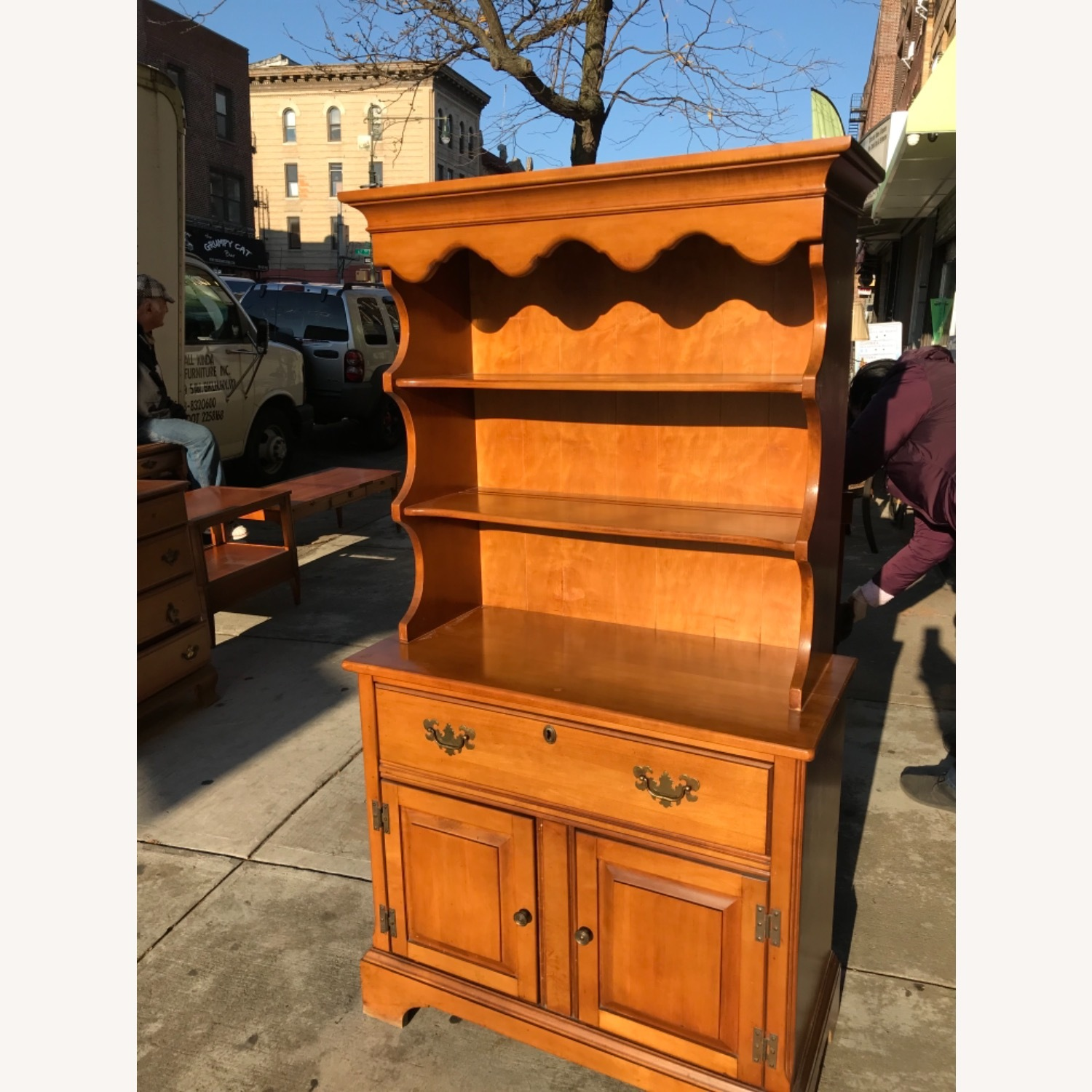 Vintage 1960s Maple Cabinet With Hutch - image-2
