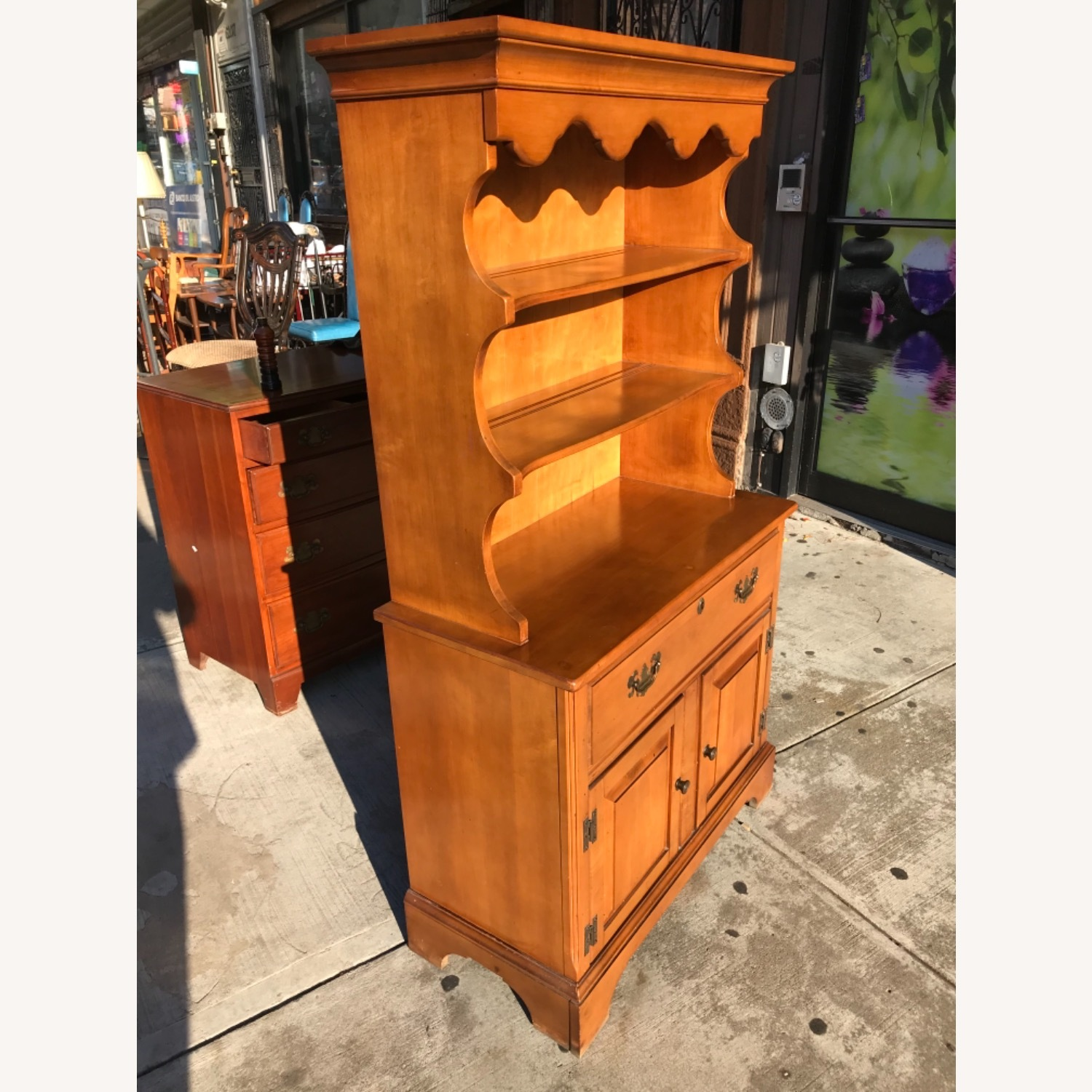 Vintage 1960s Maple Cabinet With Hutch - image-15