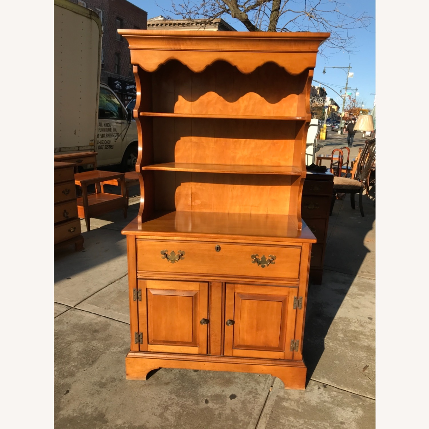 Vintage 1960s Maple Cabinet With Hutch - image-17