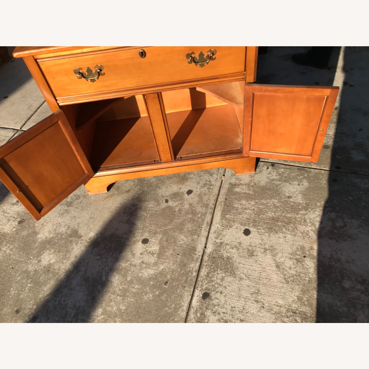 Vintage 1960s Maple Cabinet With Hutch - image-4