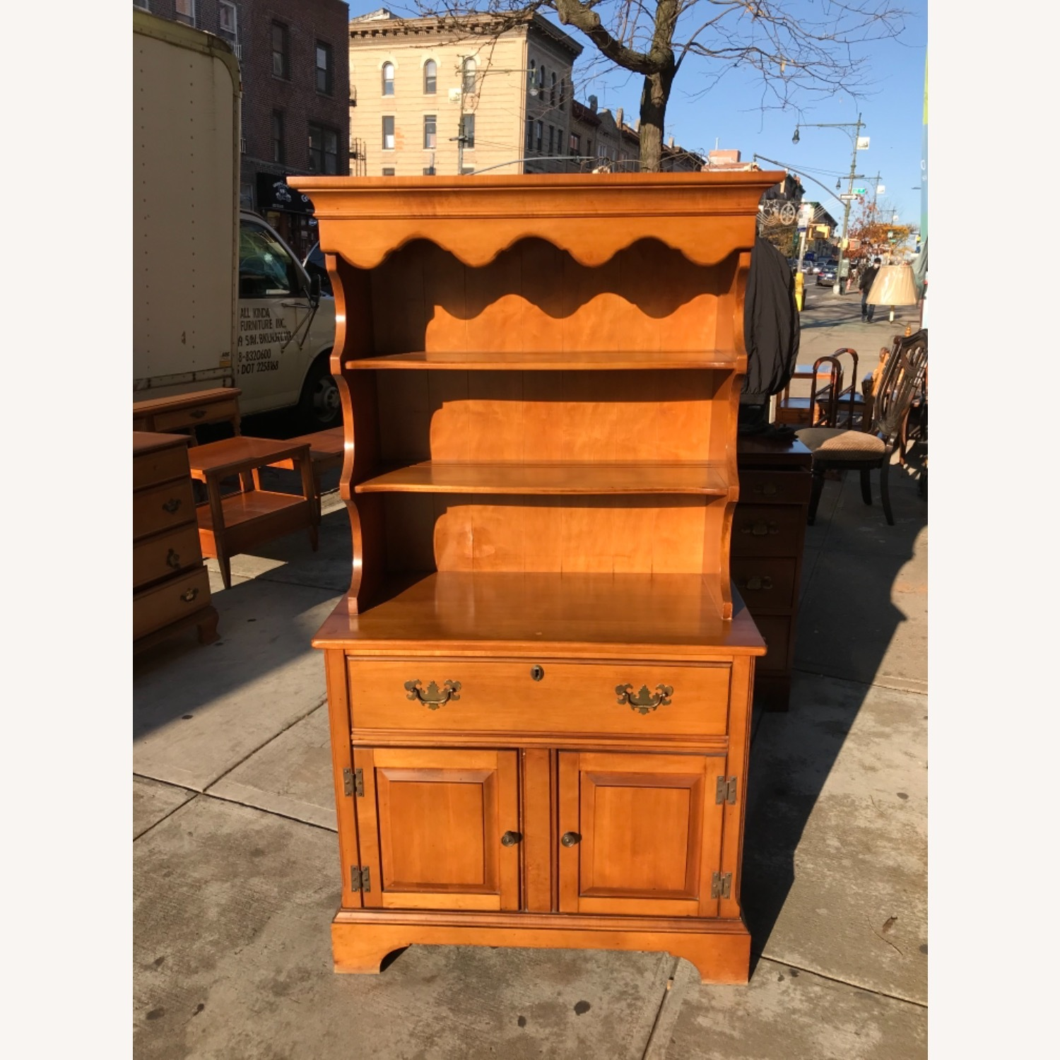 Vintage 1960s Maple Cabinet With Hutch - image-18