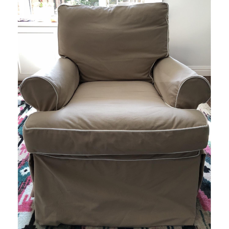 Restoration Hardware Roll Arm Swivel Glider Chair - image-2