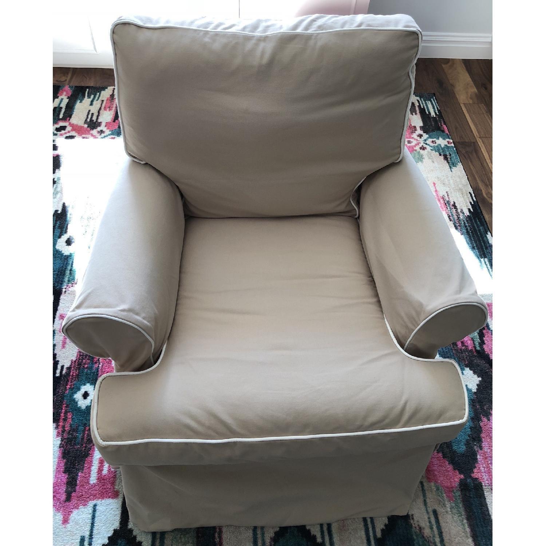 Restoration Hardware Roll Arm Swivel Glider Chair - image-5