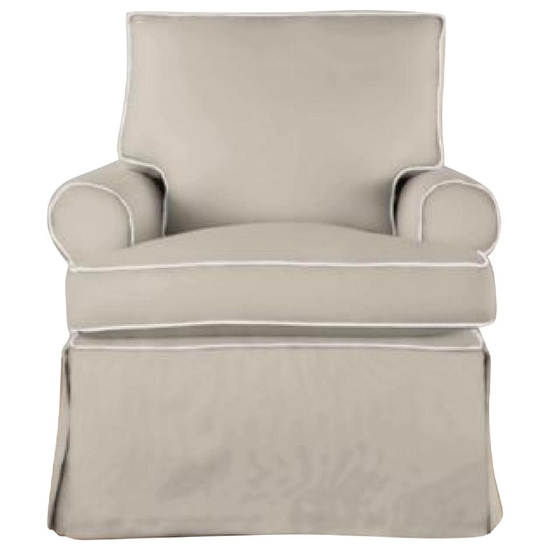 Restoration Hardware Roll Arm Swivel Glider Chair - image-1