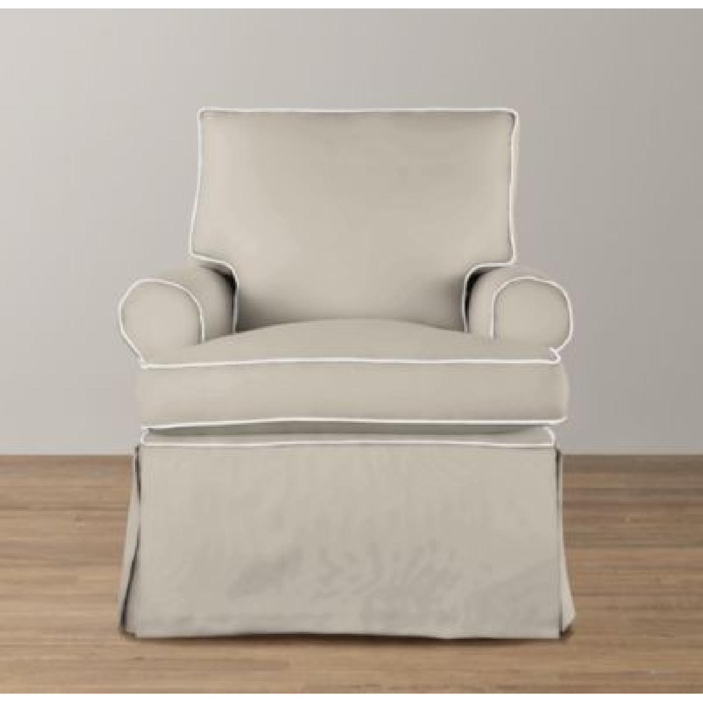 Restoration Hardware Roll Arm Swivel Glider Chair - image-8