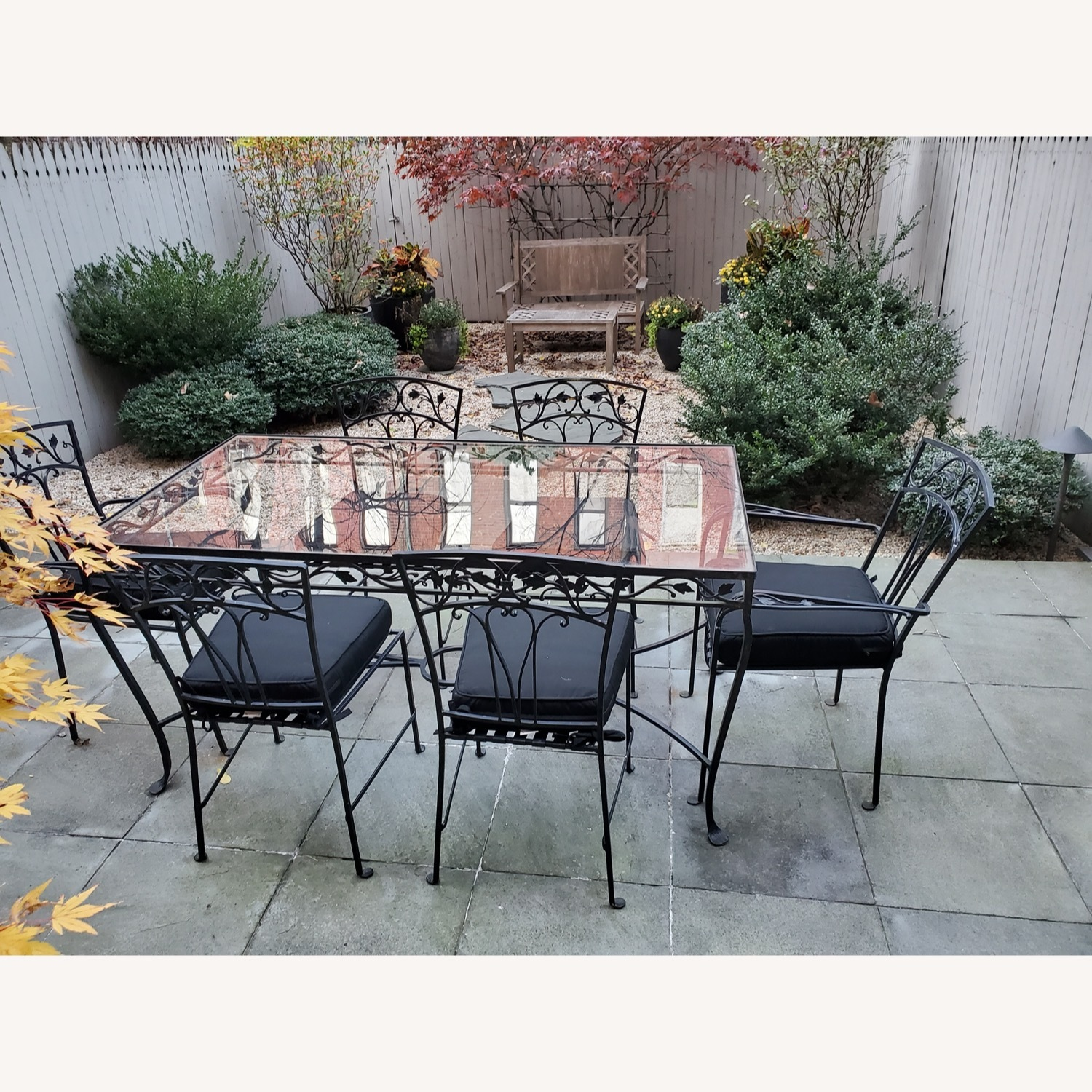 1940's VINTAGE OUTDOOR WROUGHT IRON TABLE/CHAIRS - image-2