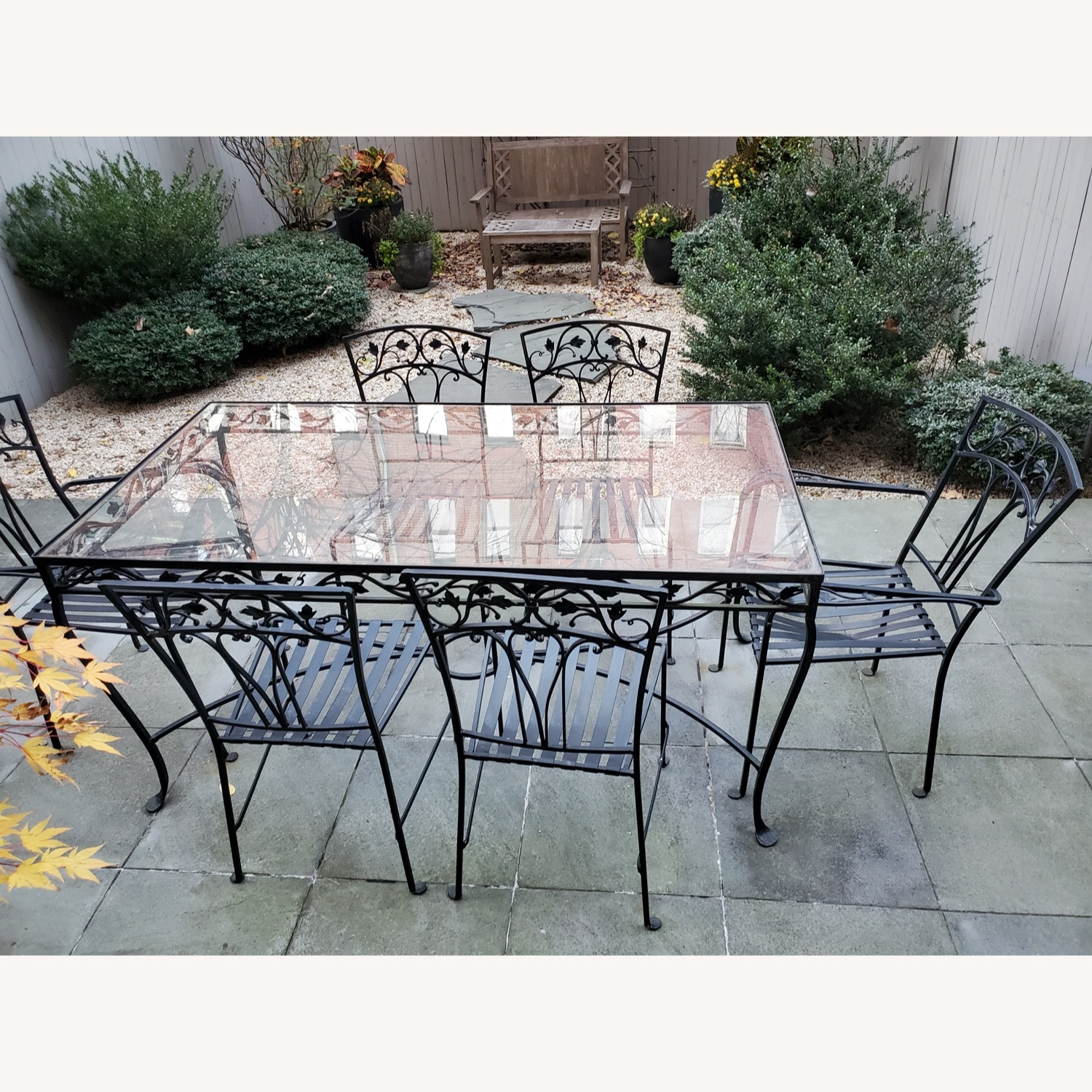 1940's VINTAGE OUTDOOR WROUGHT IRON TABLE/CHAIRS - image-8