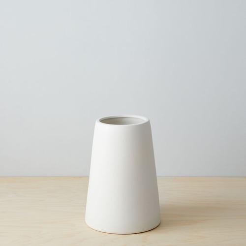 Used West Elm Pure White Ceramic Vase, Squat, White for sale on AptDeco