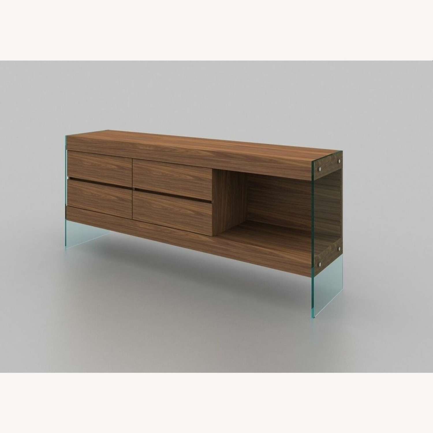 Buffet Crafted In Walnut Matte Finish W/ 4 Drawers - image-2