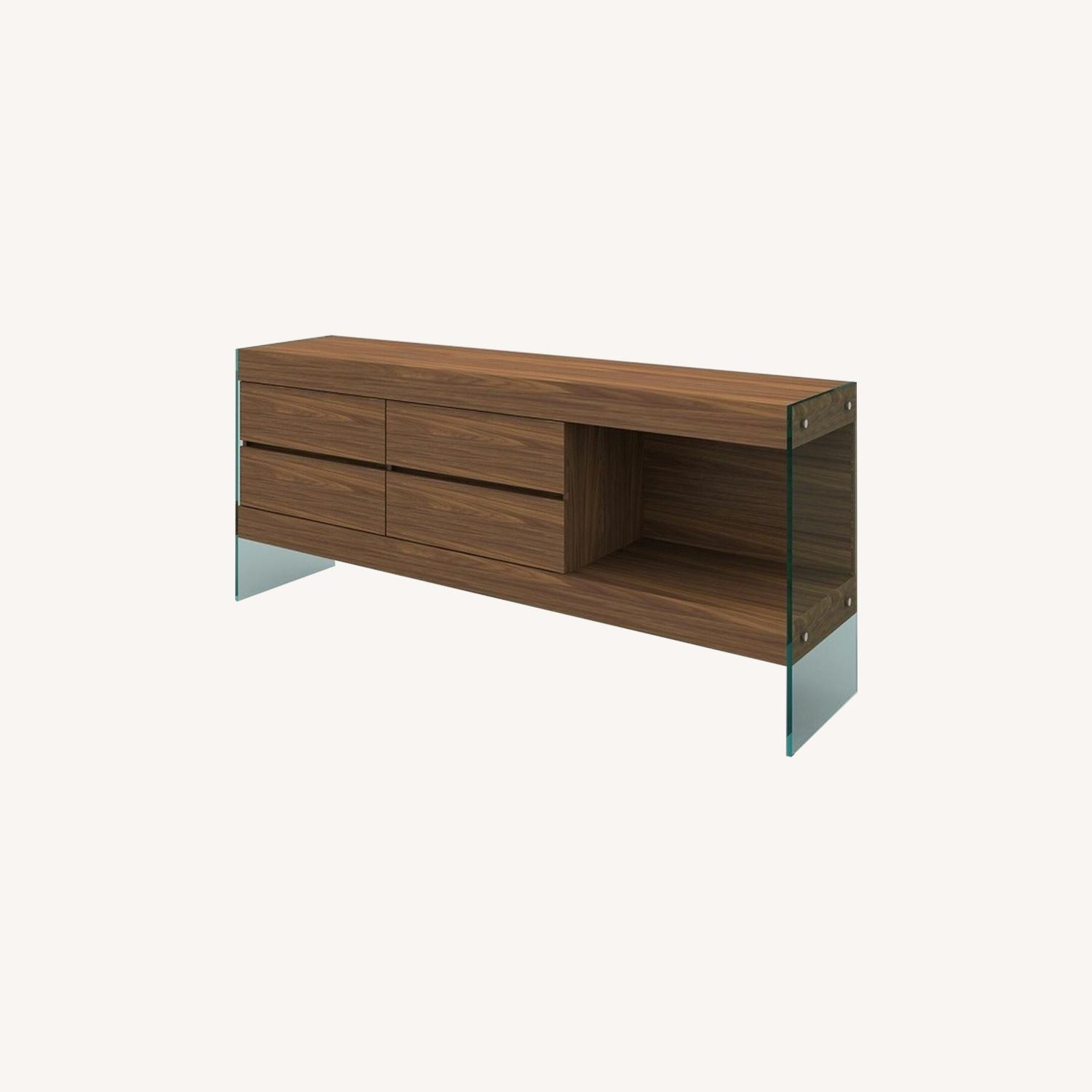 Buffet Crafted In Walnut Matte Finish W/ 4 Drawers - image-3