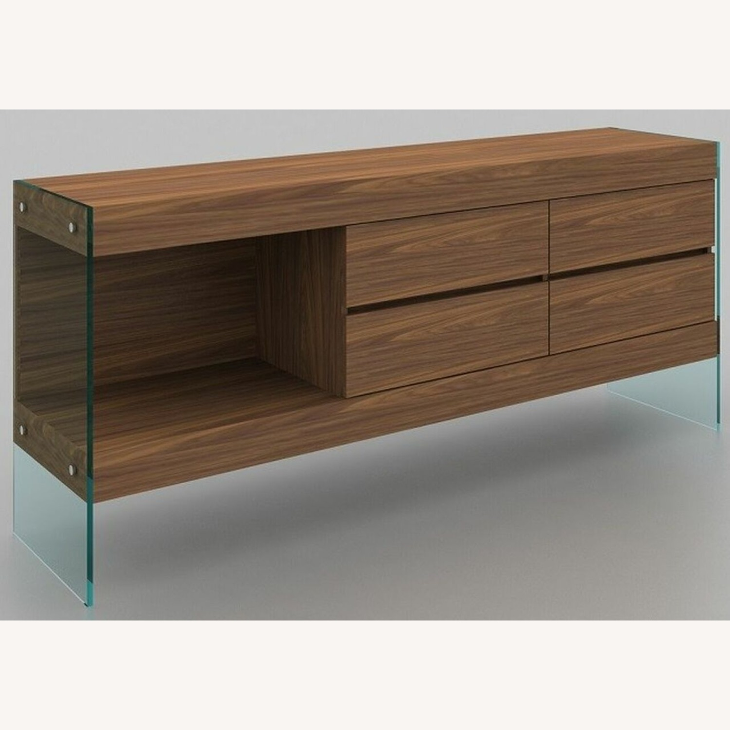 Buffet Crafted In Walnut Matte Finish W/ 4 Drawers - image-1