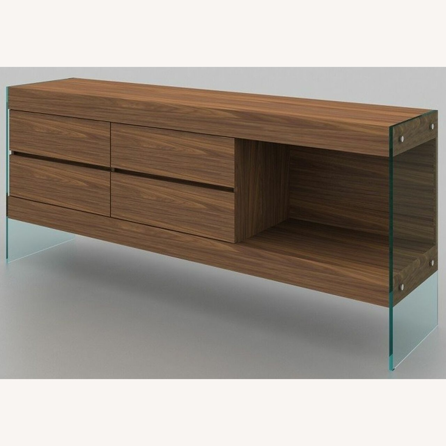 Buffet Crafted In Walnut Matte Finish W/ 4 Drawers - image-0