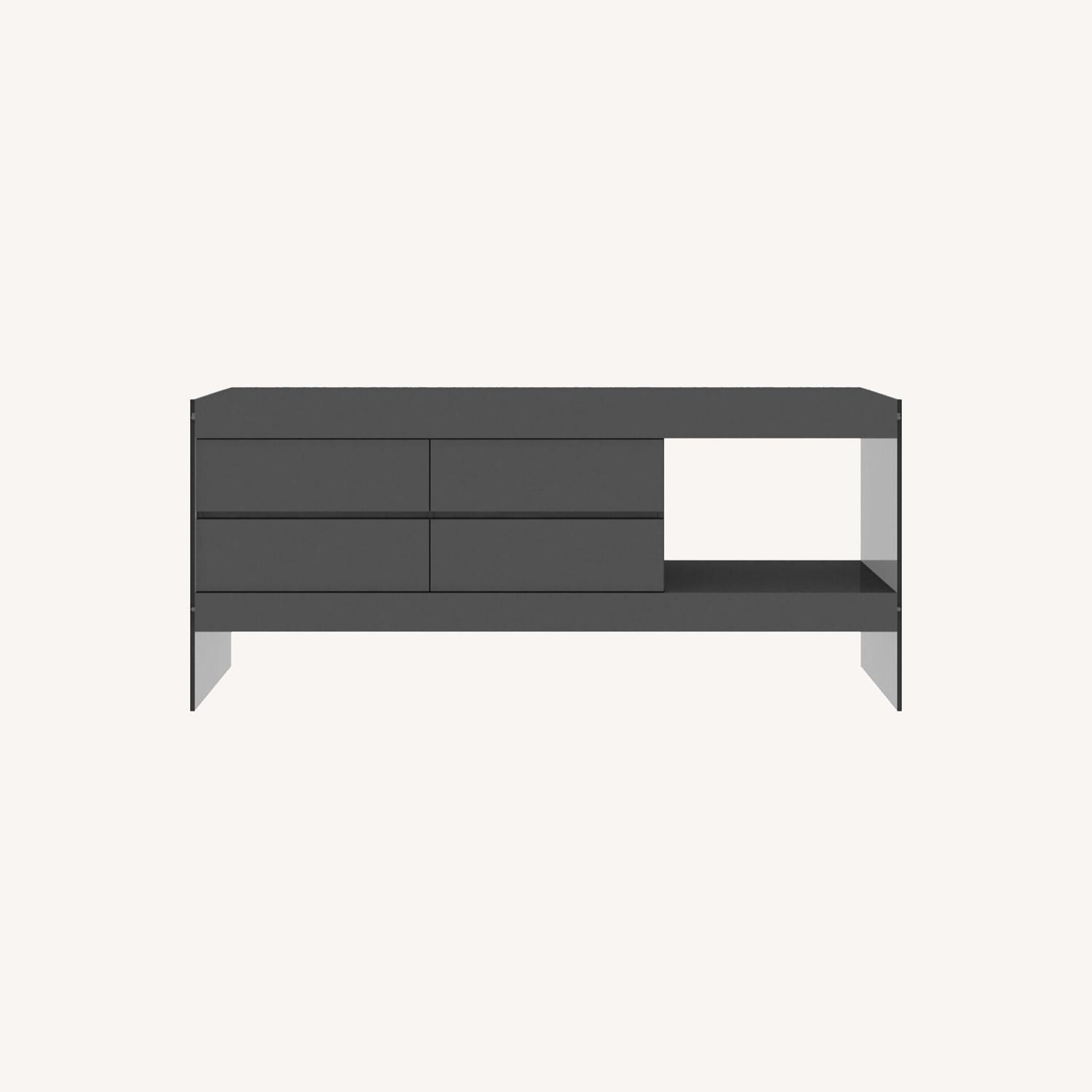 Modern Buffet In Grey Finish W/ Glass Base - image-4