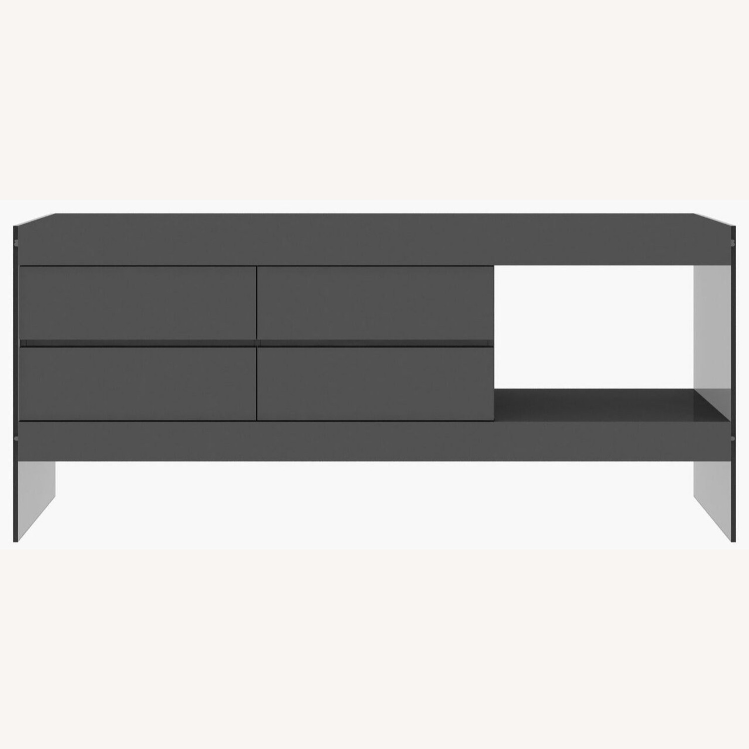 Modern Buffet In Grey Finish W/ Glass Base - image-0